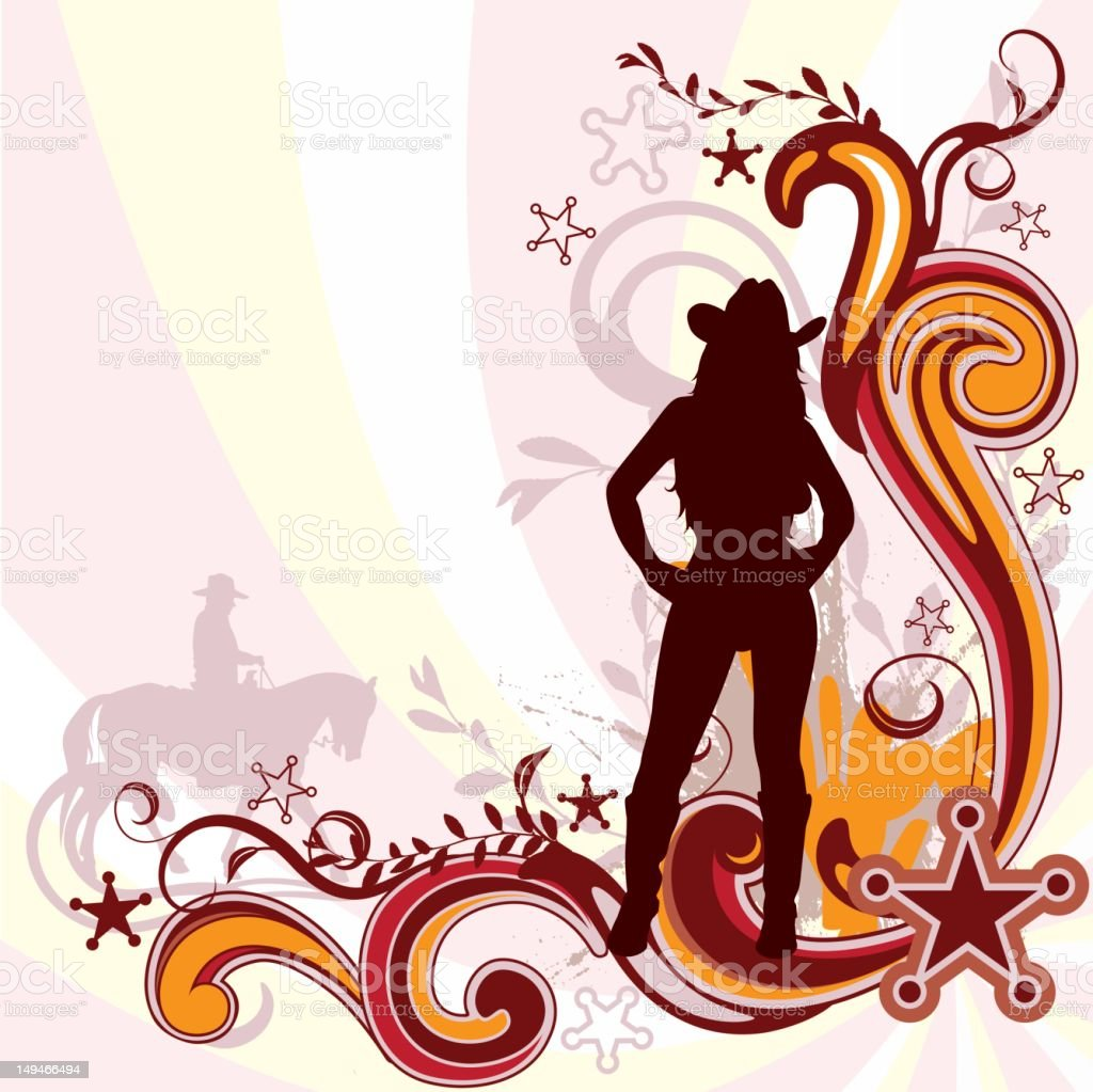 Cowgirl Silhouette with Flourishes royalty-free stock vector art