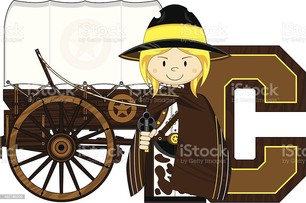 Cowgirl & Wagon Learning Letter C royalty-free stock vector art