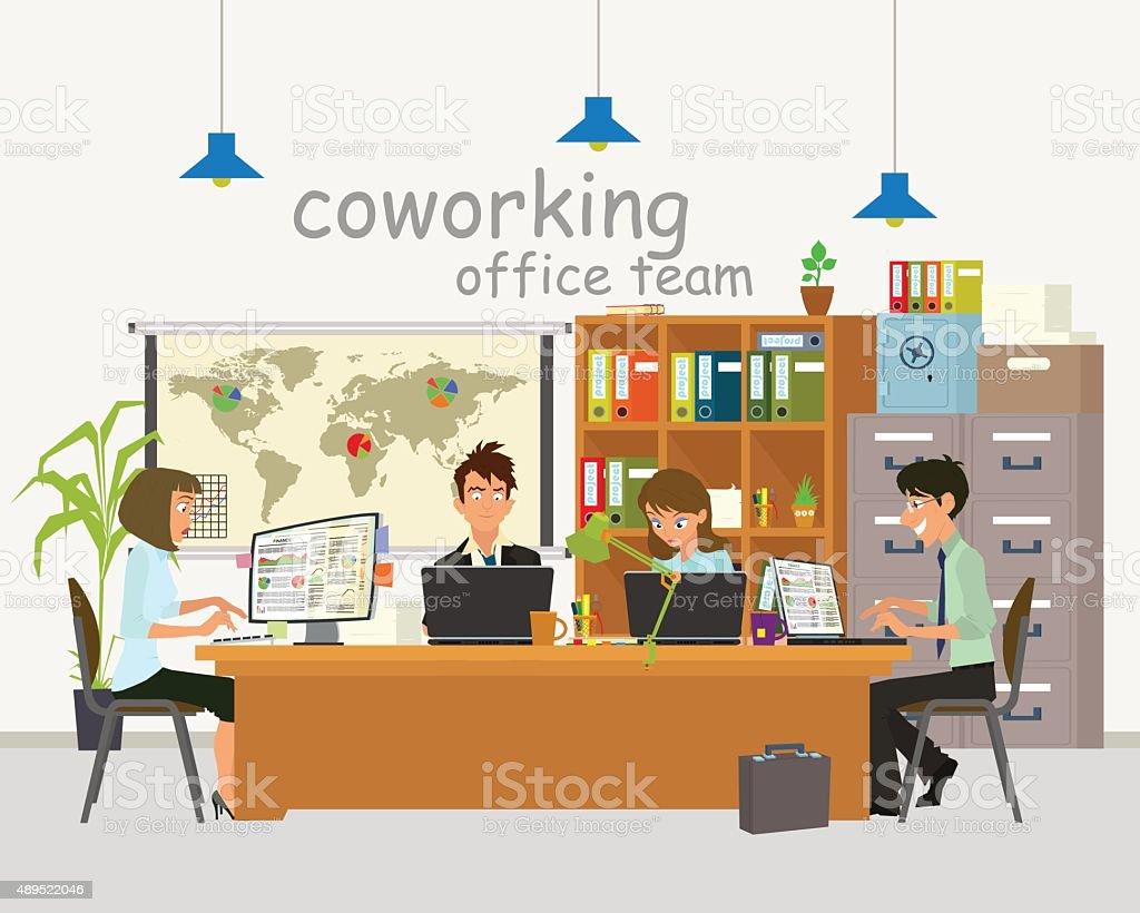 coworking center vector art illustration