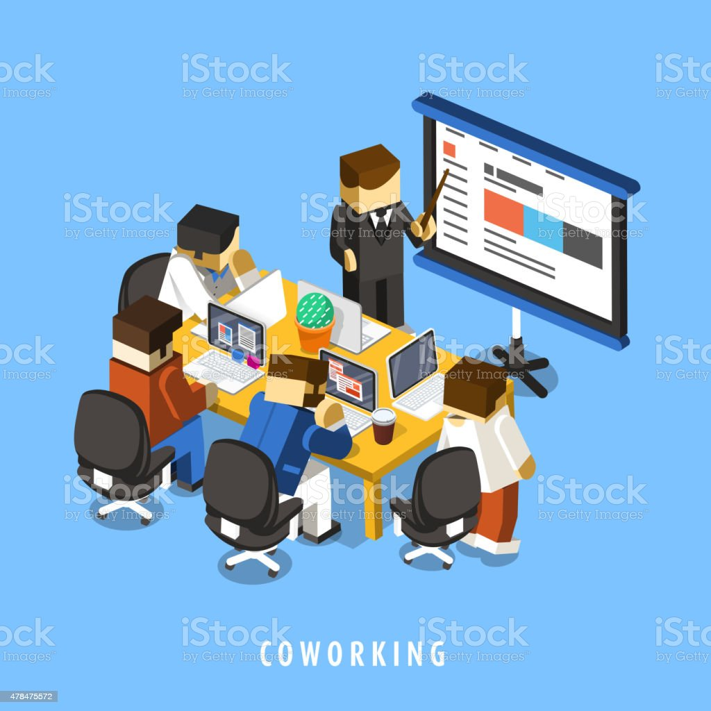 coworking concept 3d isometric infographic vector art illustration