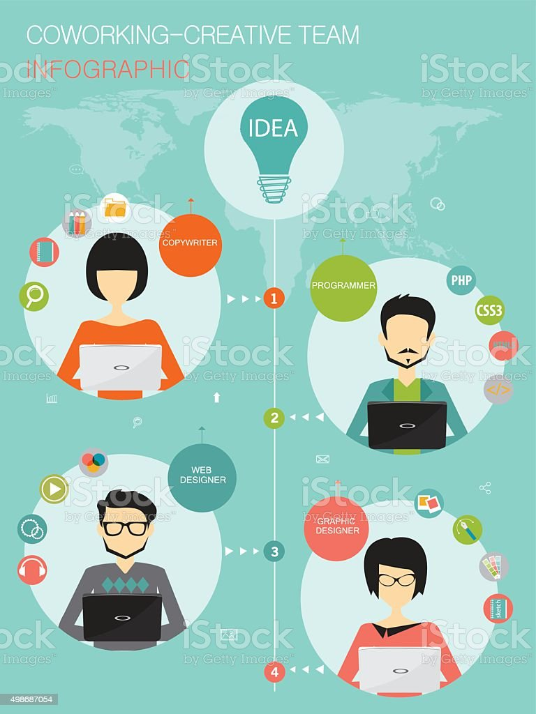 coworking, creative team infographic concept vector art illustration