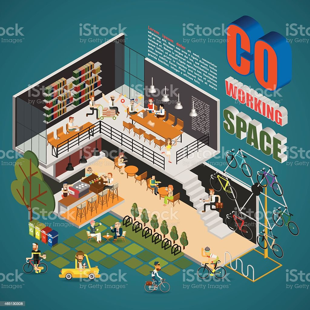 Coworking Space Infographics vector art illustration