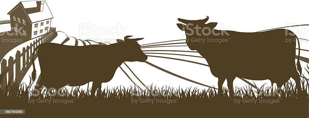 Cows and Farm Rolling Hills Landscape royalty-free stock vector art
