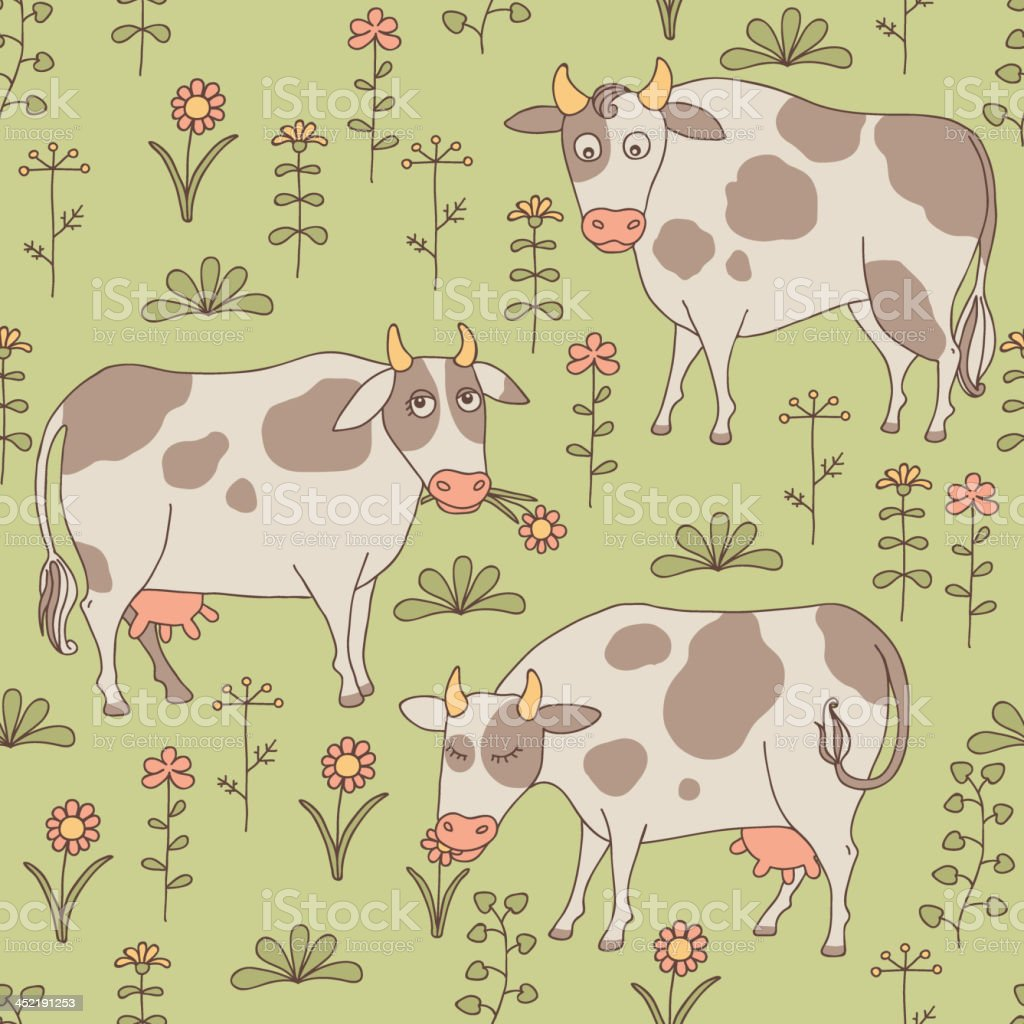 Cows grazing in a meadow royalty-free stock vector art