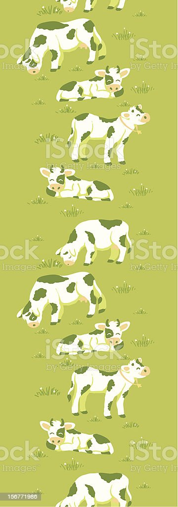 Cows Grazing On Pasture Vertical Seamless Ornament royalty-free stock vector art
