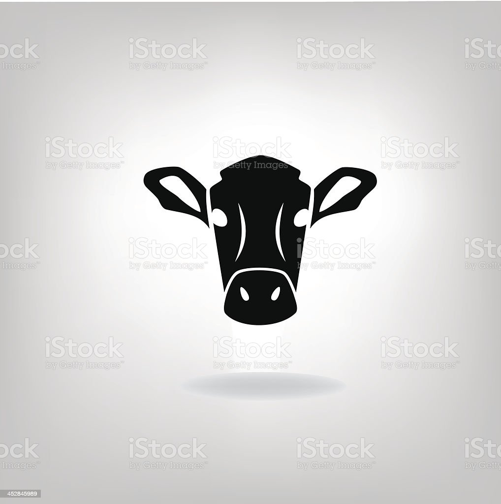 A cows head in black and white, isolated graphic vector art illustration