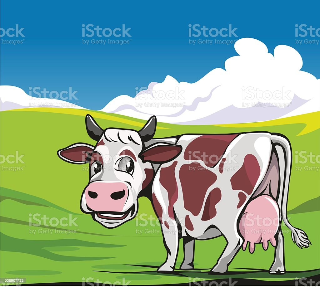 Cows in a meadow green background vector art illustration