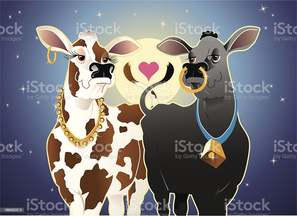 Cows in Love royalty-free stock vector art