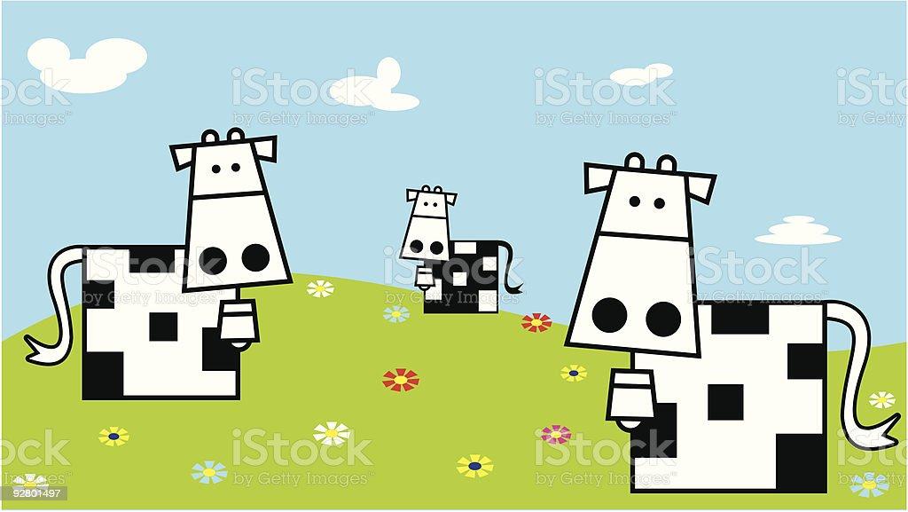 Vaches sur le terrain stock vecteur libres de droits libre de droits