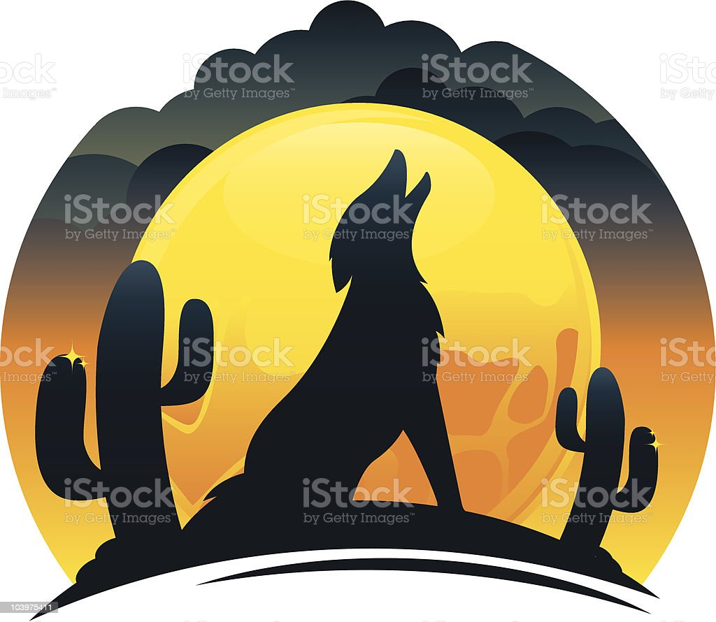 Coyote Howling at Sunset royalty-free stock vector art