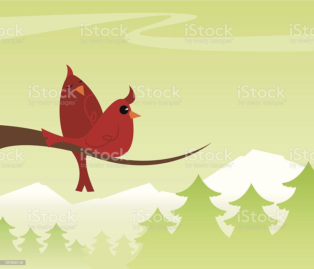 Cozy Cardinals vector art illustration