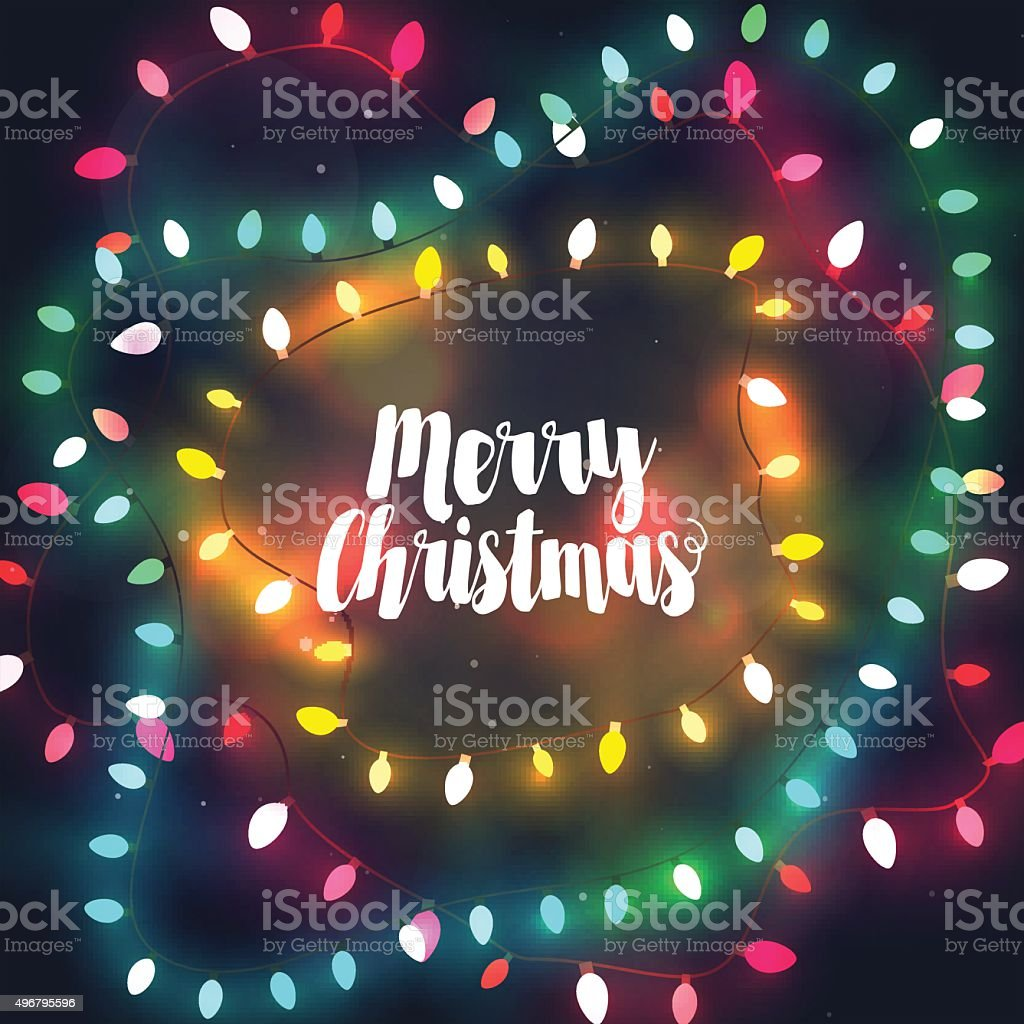 Cozy Christmas lights garlands, greeting card with Merry Christmas vector art illustration
