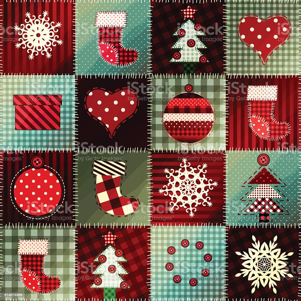 Cozy Christmas pattern in patchwork. vector art illustration