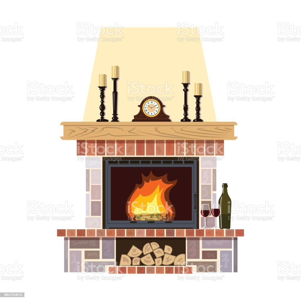 Cozy flaming fireplace vector art illustration