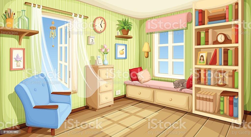 Cozy room interior. Vector illustration. vector art illustration
