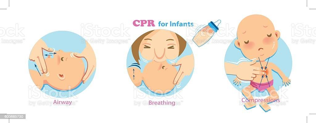 cpr baby vector art illustration