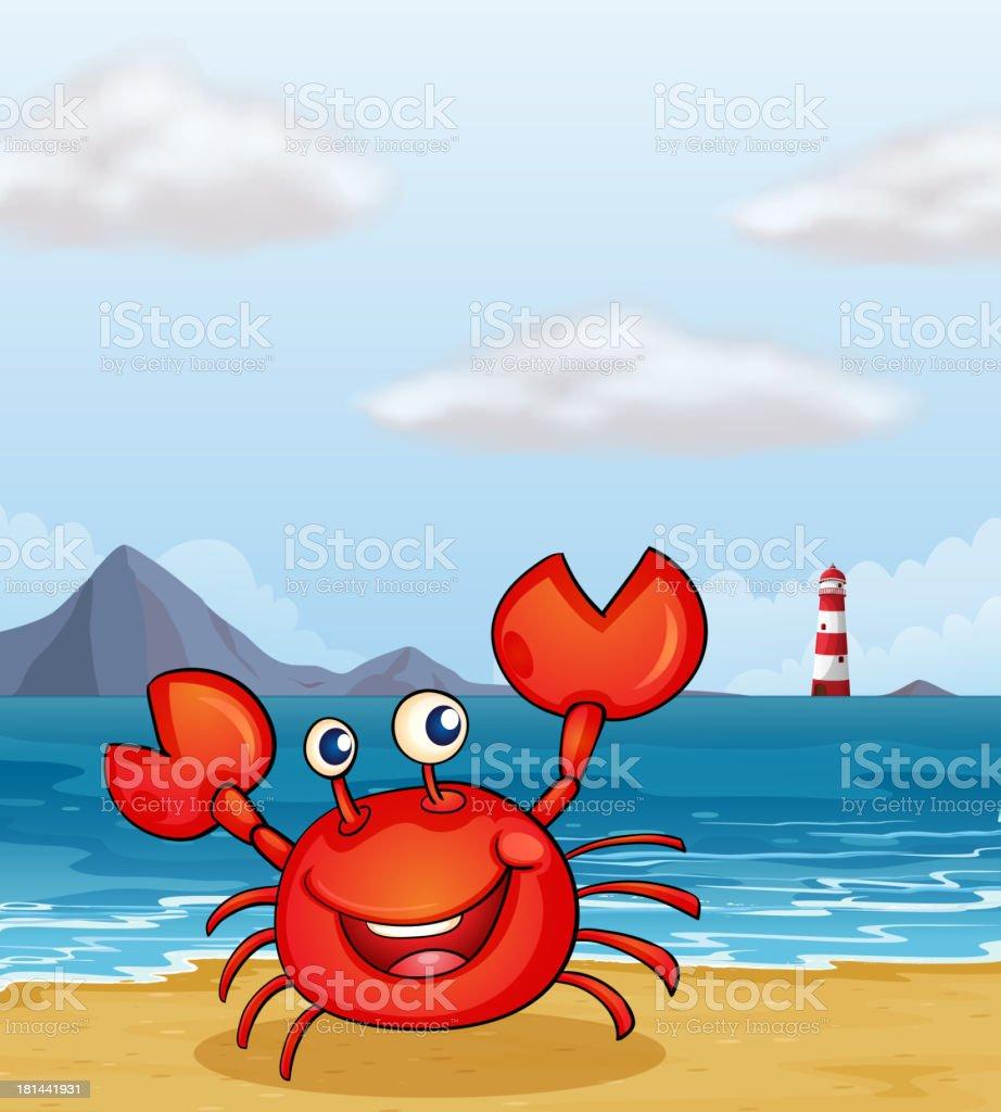 crab at the seashore vector art illustration