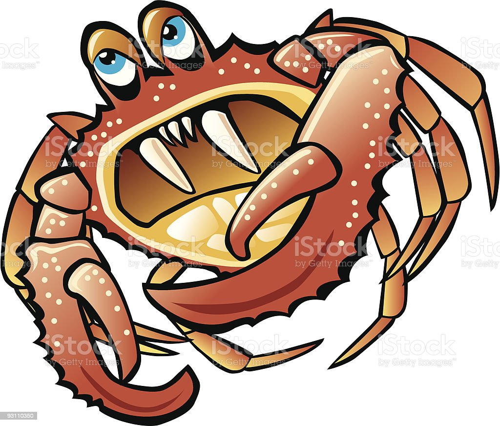 Crab Cartoon With Big Teeth royalty-free stock vector art
