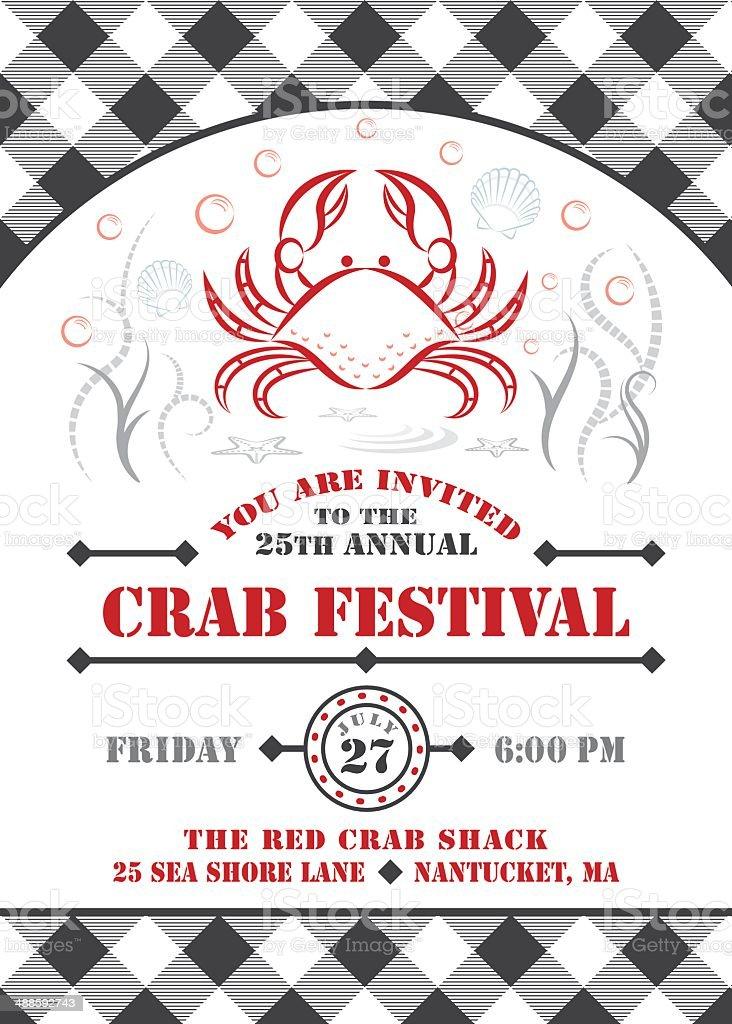 Crab Fest Invitation vector art illustration