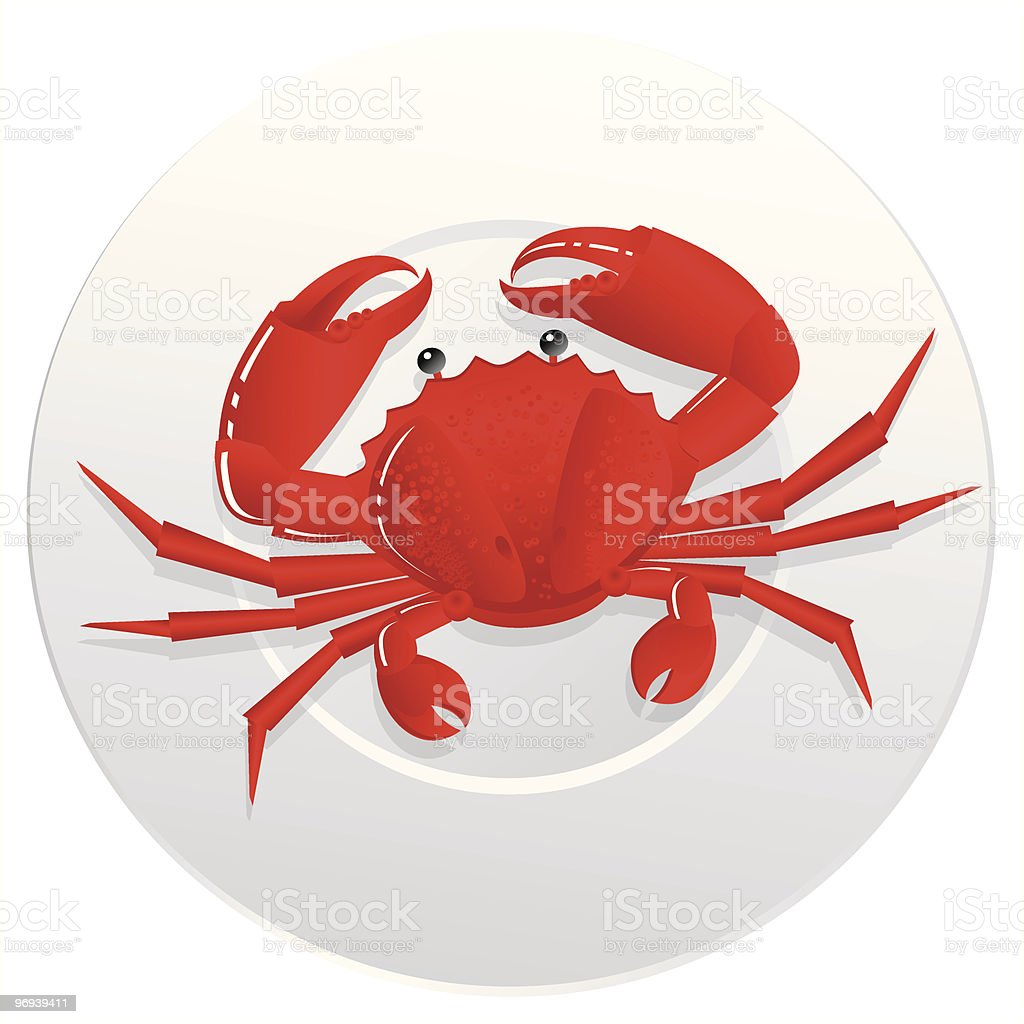 Crab on a plate vector art illustration