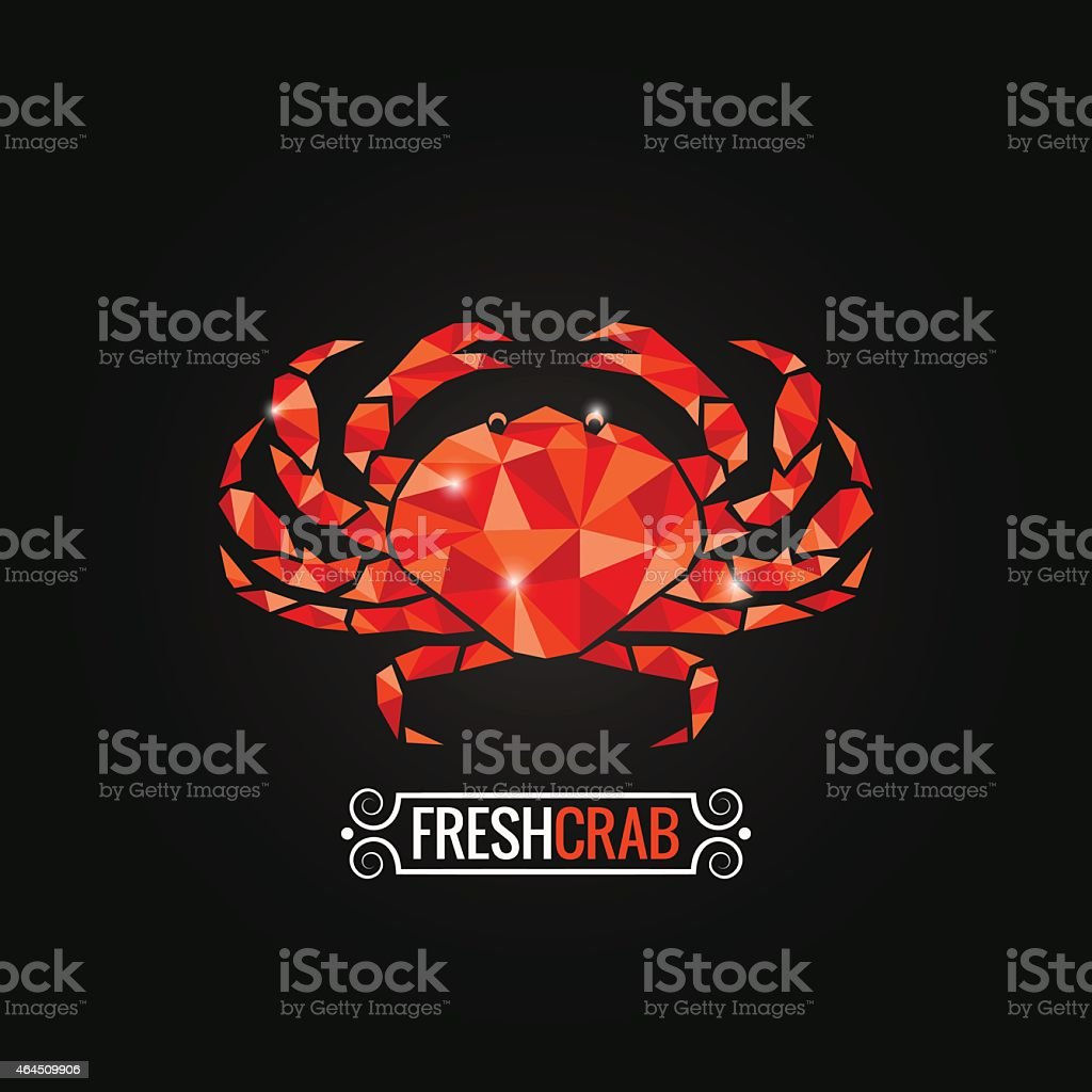 crab seafood poly design background vector art illustration