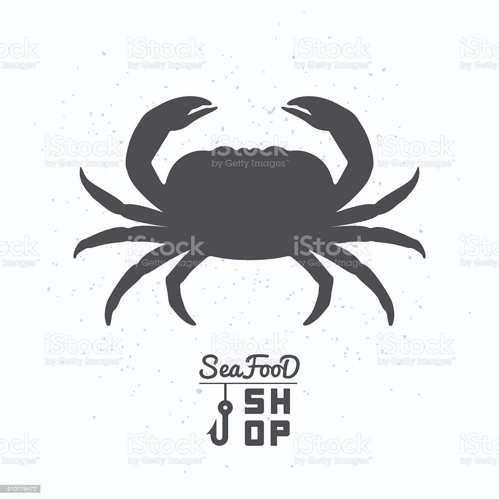 Crab silhouette. Seafood shop branding template vector art illustration