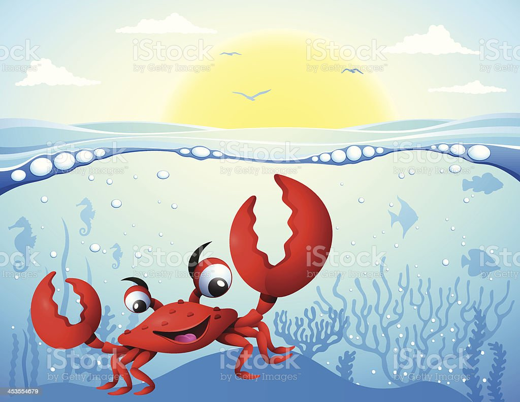 Crab under the sea royalty-free stock vector art