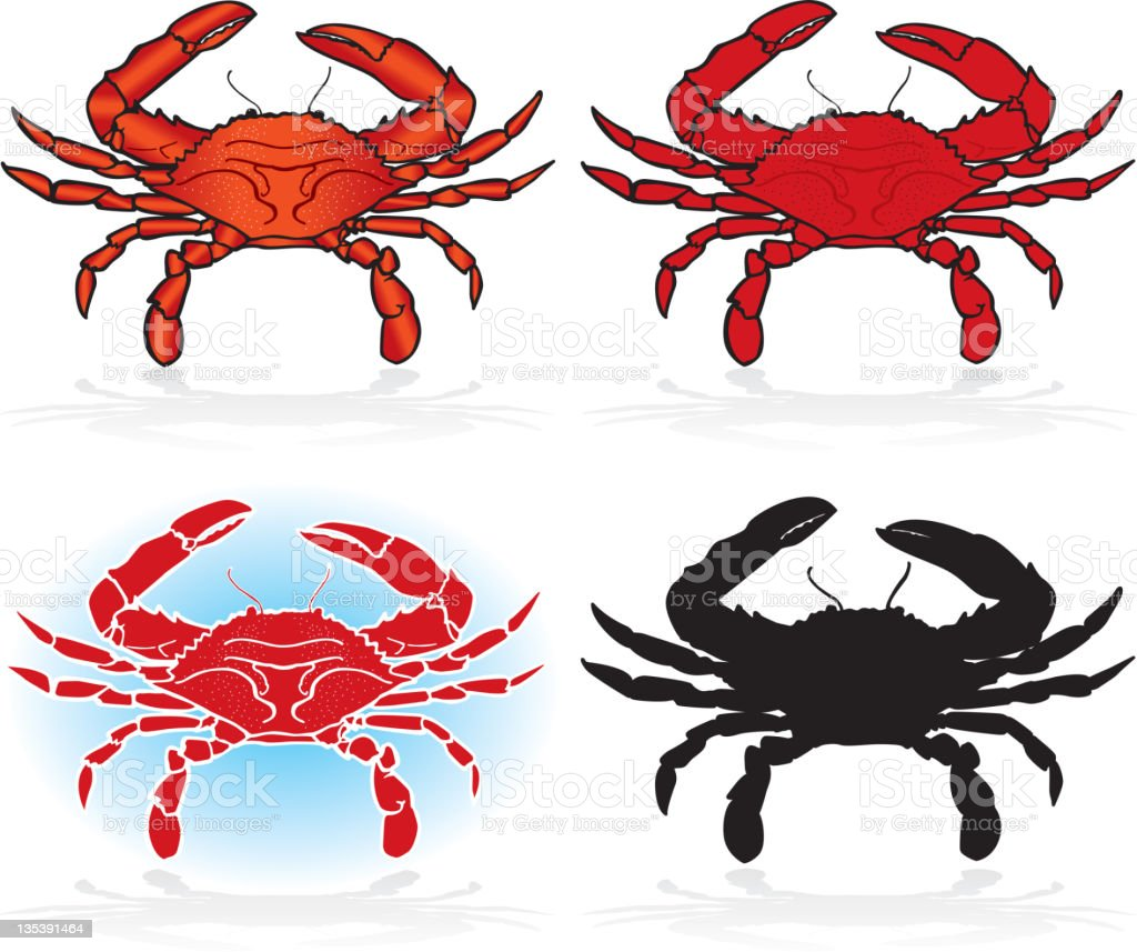Crabs, Design Elements Detailed and Silhouette vector art illustration