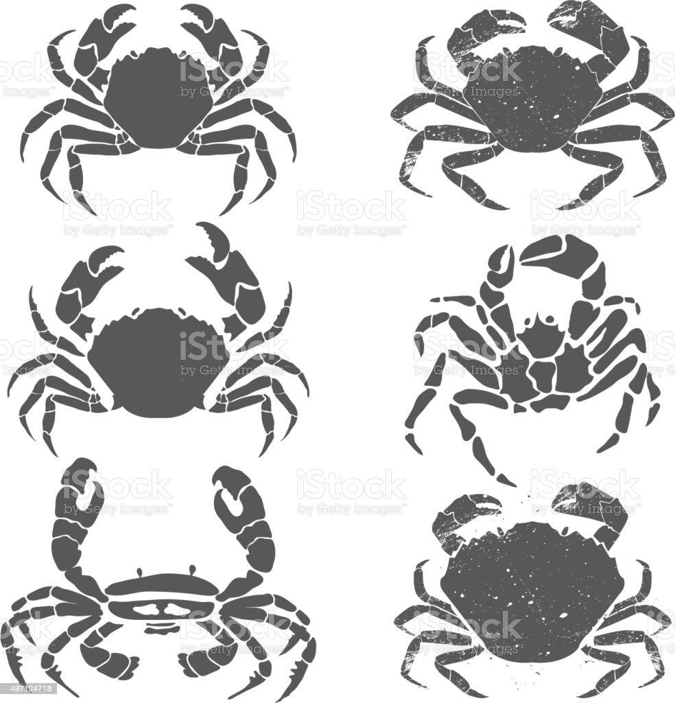 crabs set vector art illustration