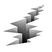 Crack fault line in ground vector illustration