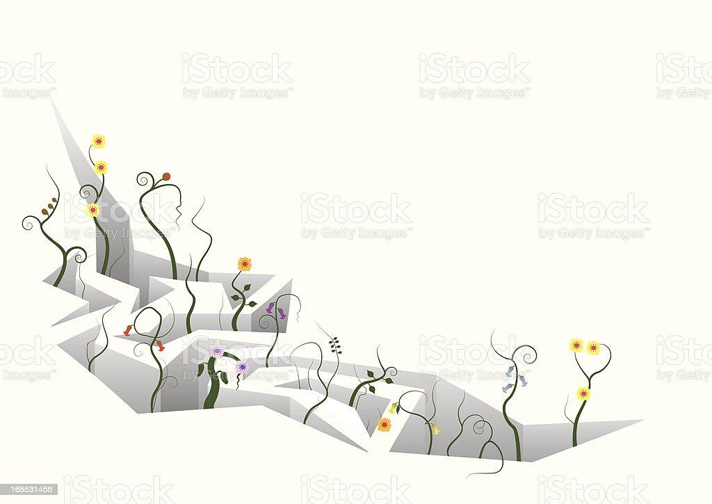 Crack with plants emerging vector art illustration