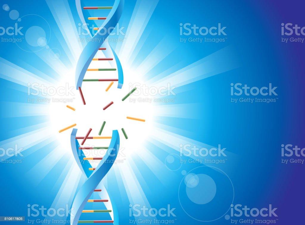 Cracked DNA vector art illustration