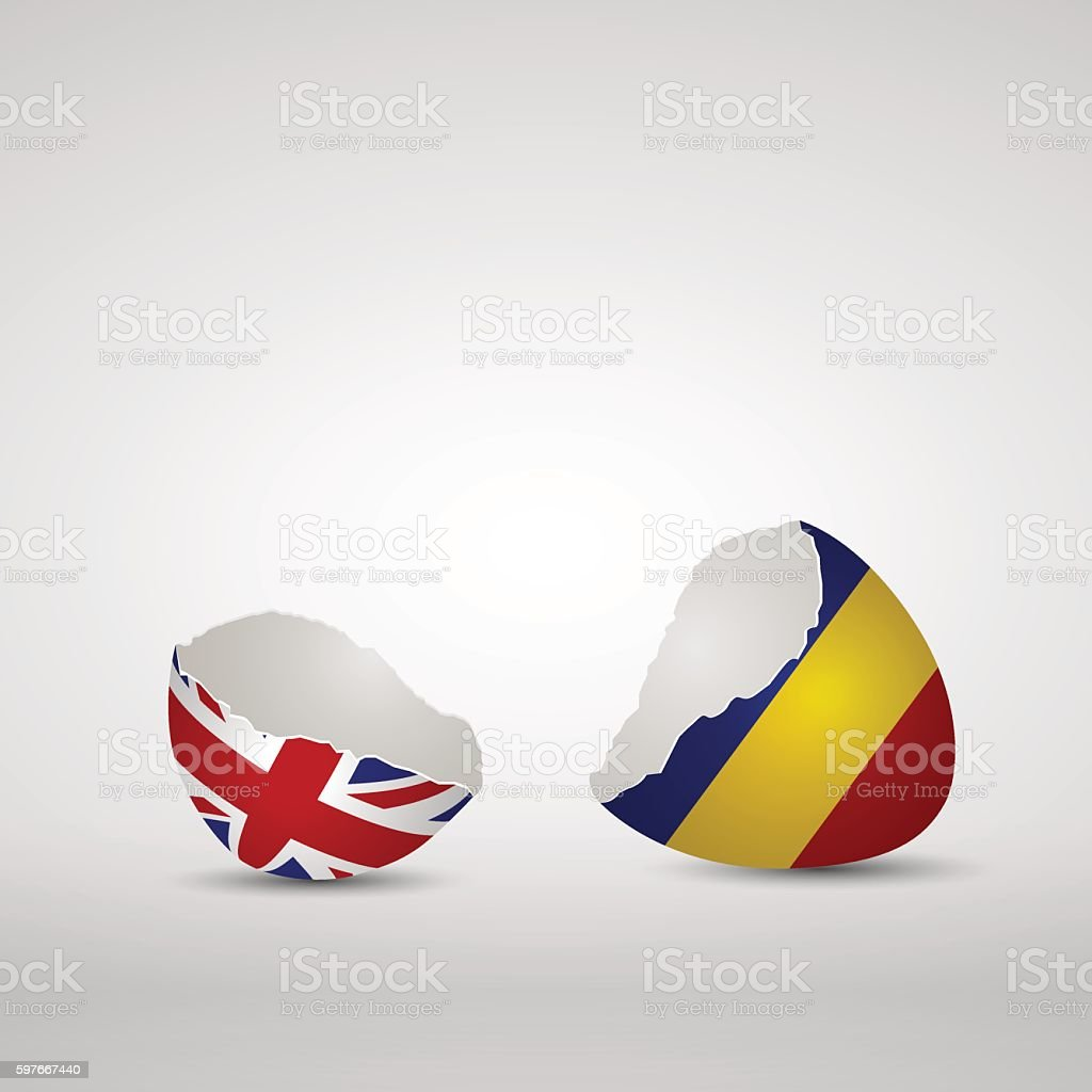 Cracked egg shell England and Romania vector art illustration