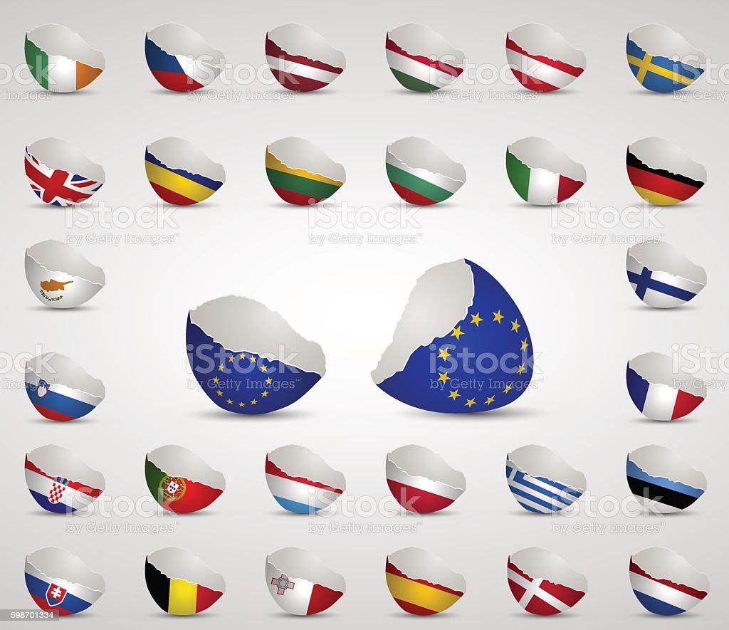 Cracked egg shell Flags all in one vector art illustration