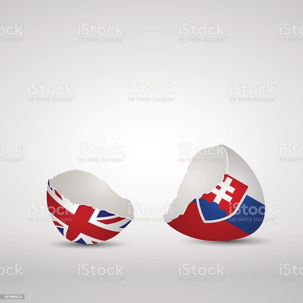 Cracked egg shell with England and Slovakia flags vector art illustration