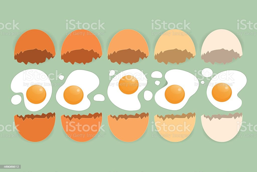 Cracked eggs in different colors on the green background vector art illustration