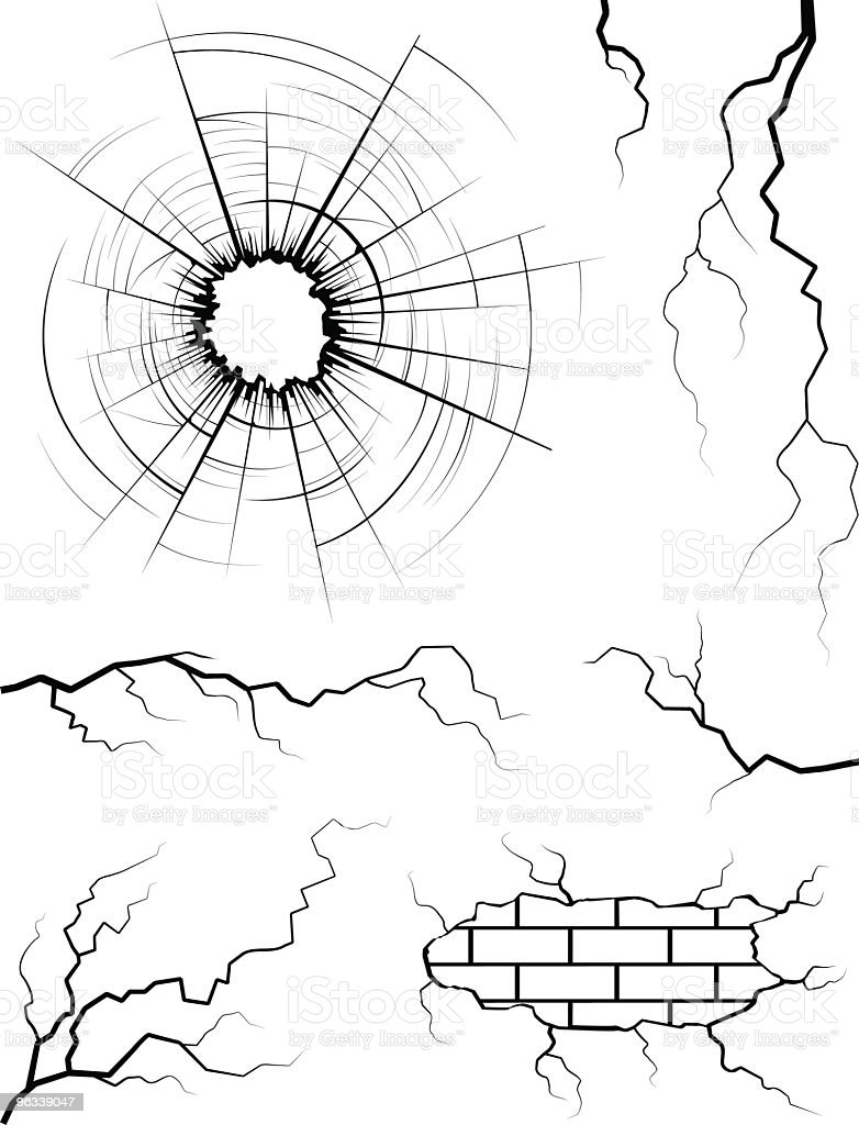 Cracked Elements vector art illustration
