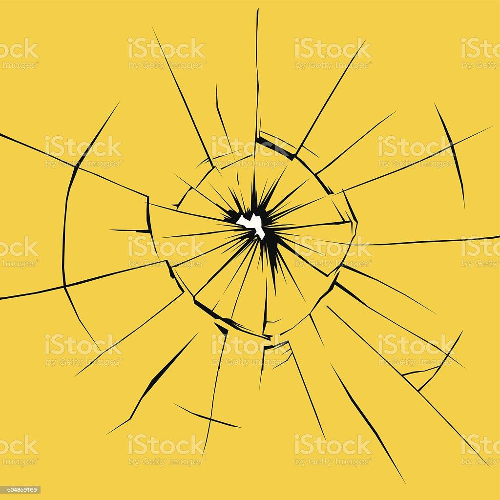 Cracked glass vector art illustration