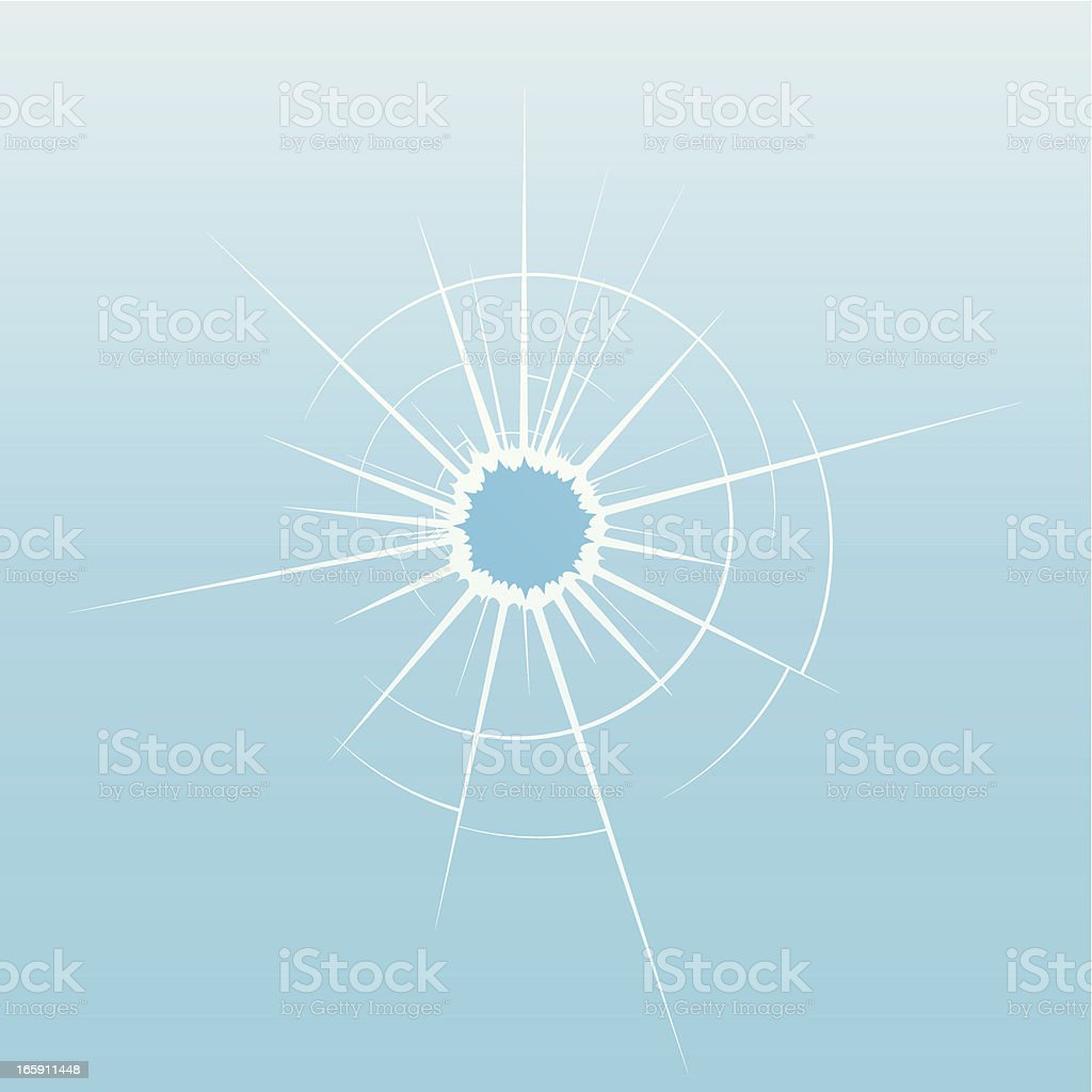 Cracked glass with a bullet hole royalty-free stock vector art