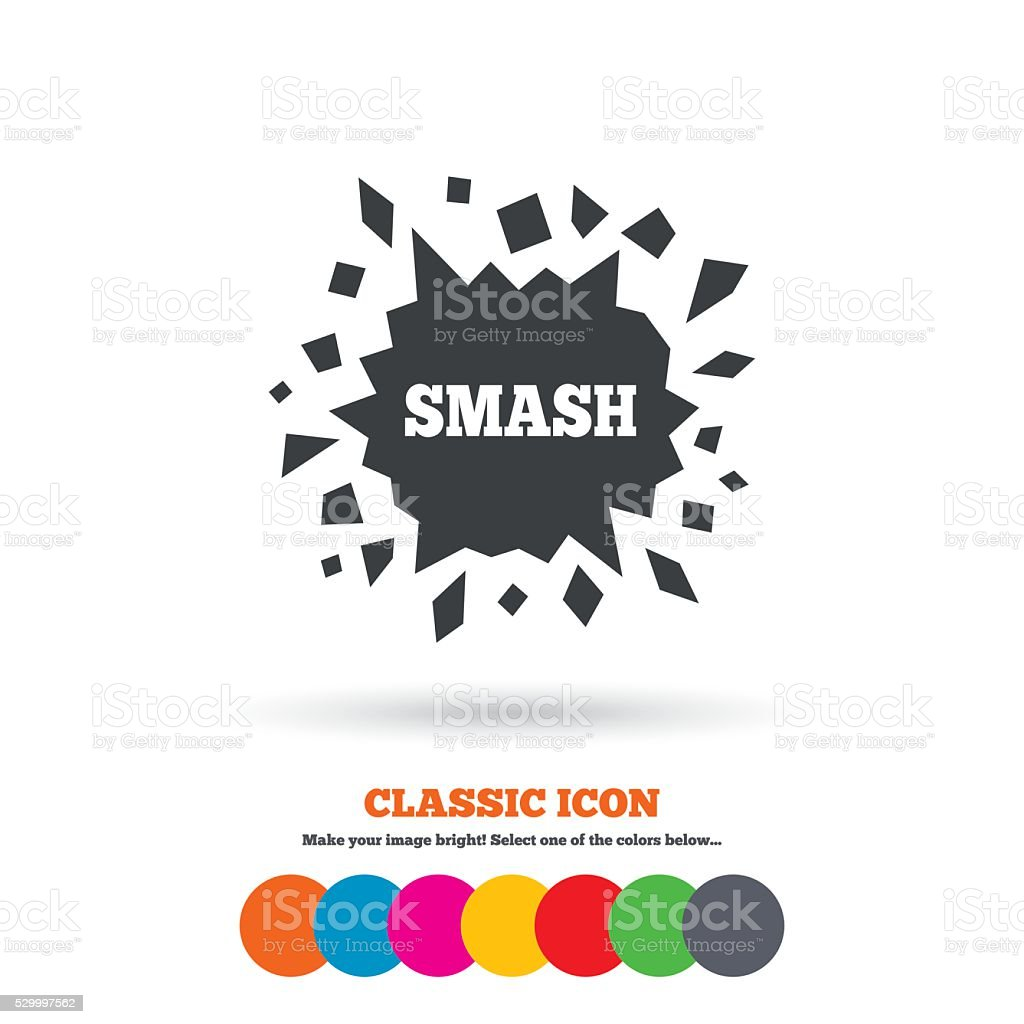 Cracked hole icon. Smash or break symbol. vector art illustration