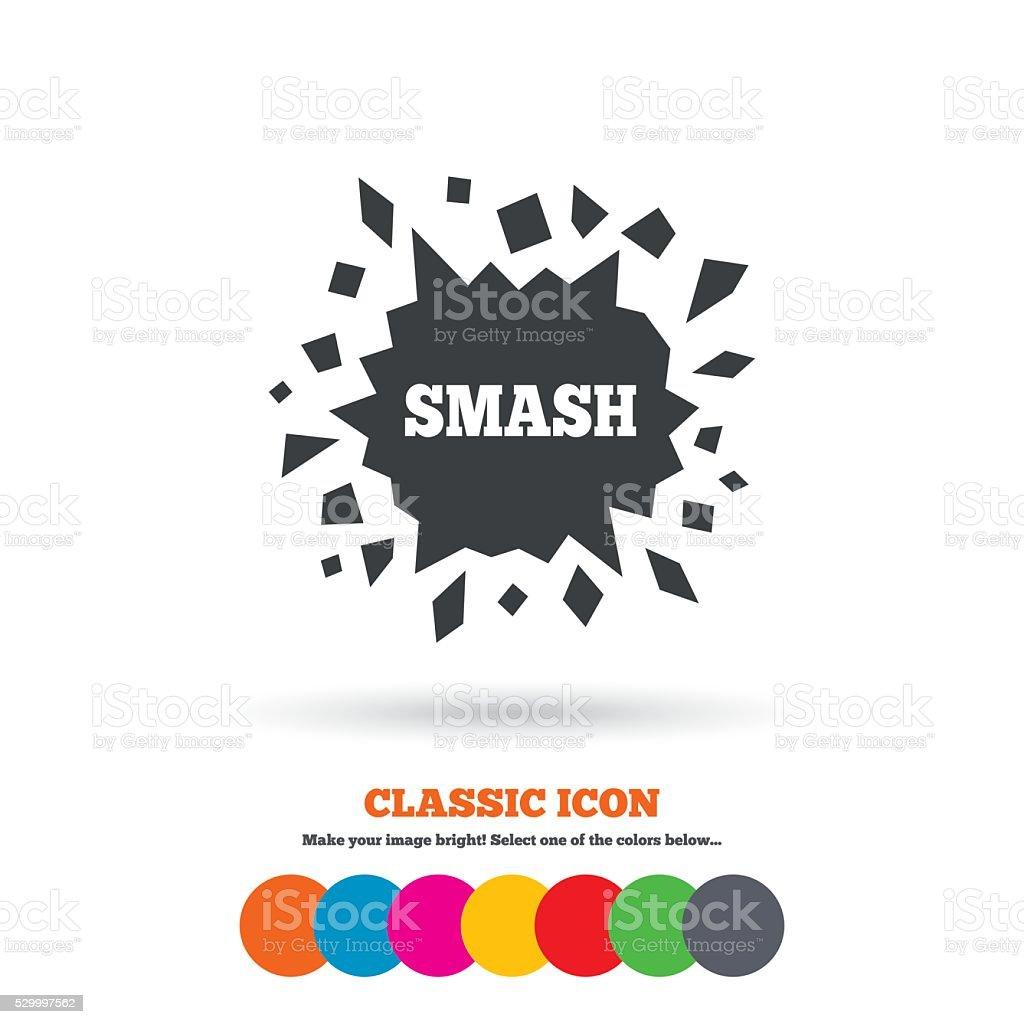 Cracked hole icon. Smash or break symbol. vector art illustration