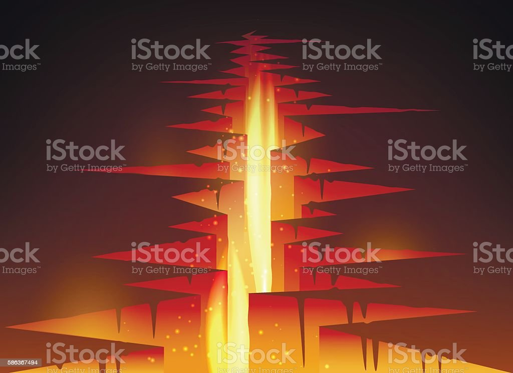 Cracked hole in ground with lava vector art illustration