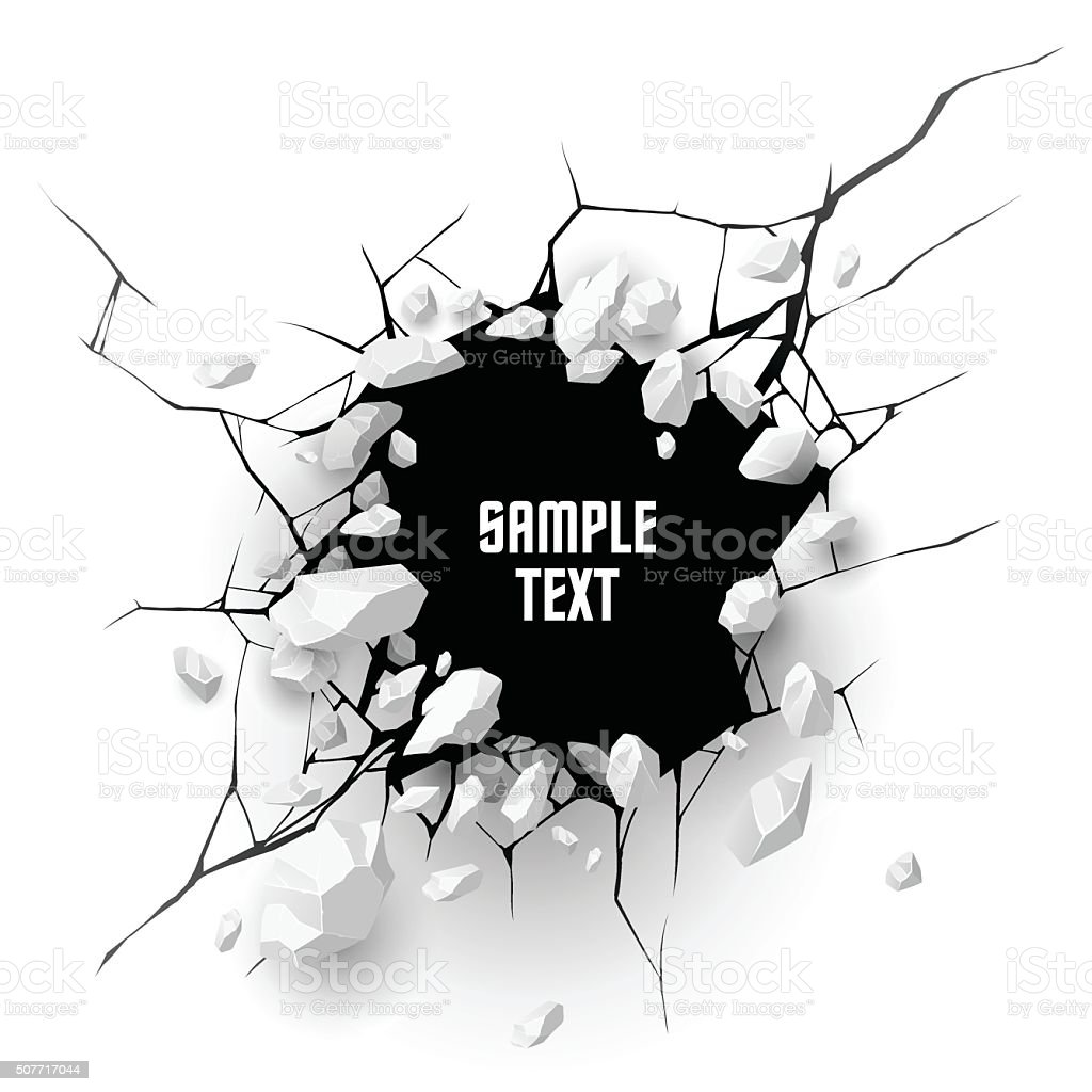 Cracked hole with space for text vector art illustration