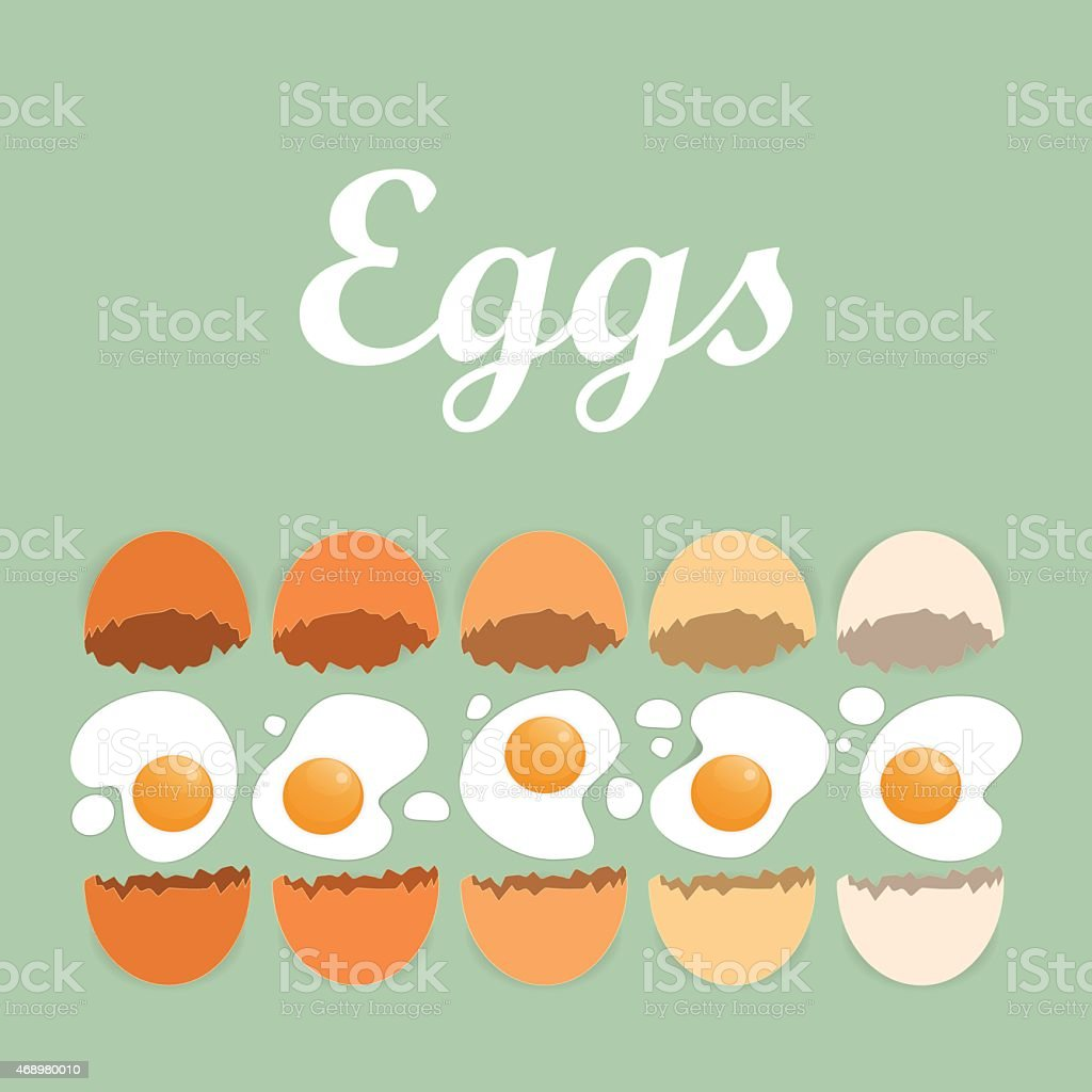 Cracked organic eggs with title on the green background vector art illustration