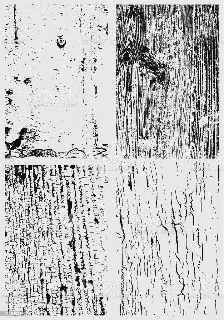 Cracked paint and wooden surface texture bundle vector art illustration