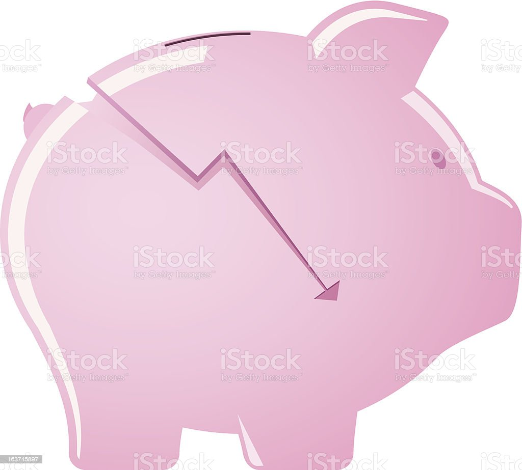 Cracked pink piggy bank royalty-free stock vector art