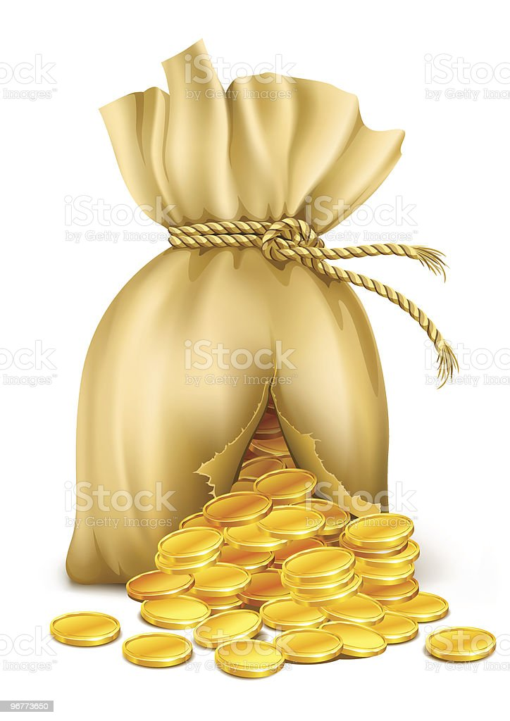 cracked sack wired by rope with gold coins royalty-free stock vector art