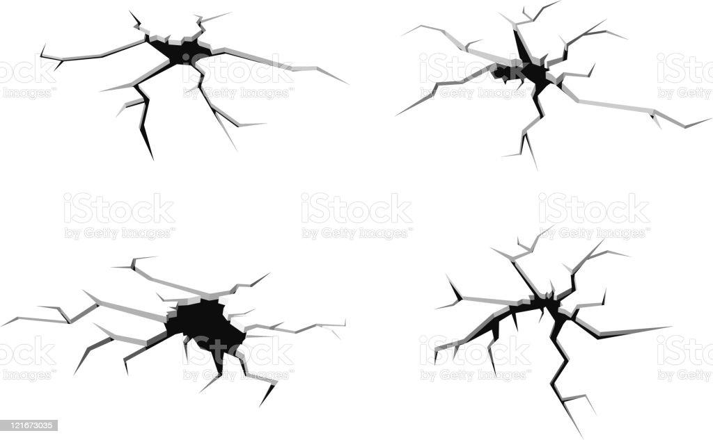 Cracks and breaks vector art illustration