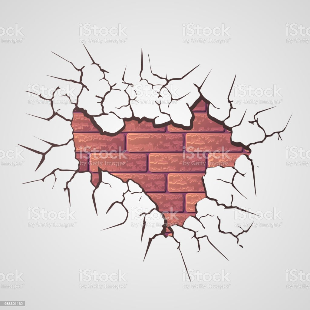 Cracked brick wall drawing brick wall - Cracks With Brick Wall Royalty Free Stock Vector Art