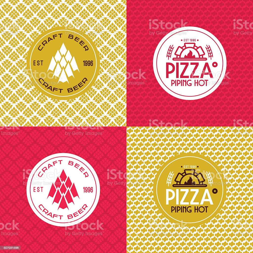 Craft beer and pizza seamless patterns and labels vector art illustration